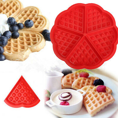 Silicone Waffles Pan Cake Baking Baked Muffin Cake Chocolate Mold Mould Tray Red