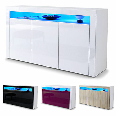 """White High Gloss Modern Sideboard Cupboard Unit Contemporary """"Valencia"""""""