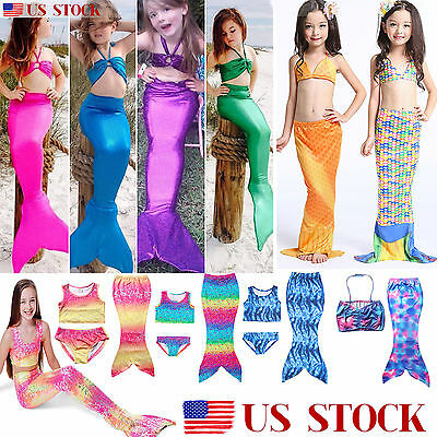 US Kids Girls Swimmable Mermaid Tail Swimsuit Bikini Swimwear Swimming Costume