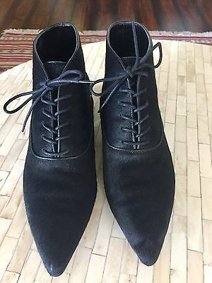 ZARA Black Leather Pony Hair Lace Up Pointy Boots Ankle 9 40 New!!