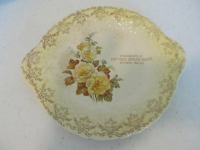 Advertising Plate Kenney State Bank Kenney Texas Yellow Roses!