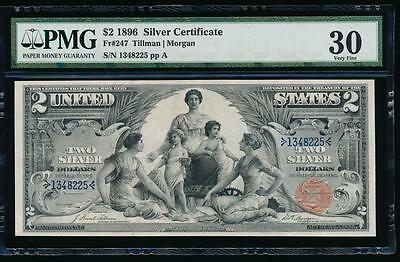 AC Fr 247 1896 $2 Silver Certificate EDUCATIONAL PMG 30