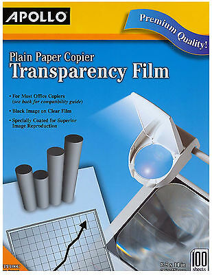 Apollo TRANSPARENCY FILM, VPP100C, factory sealed, 8.5 x 11-in., 100 sheets