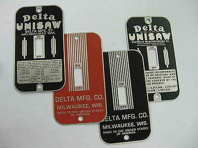 VINTAGE SWITCH PLATES - Delta Unisaw and Delta Mfg styles -  new stainless steel