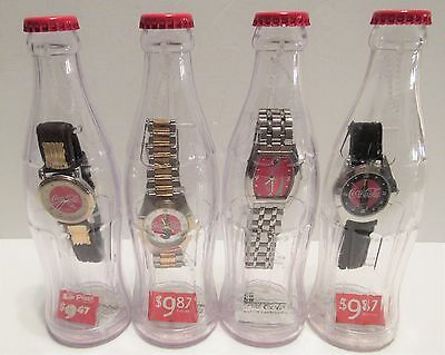 (4) Coca Cola Collector Watches In Bottles 2002 Brand New Sealed Watch Coke