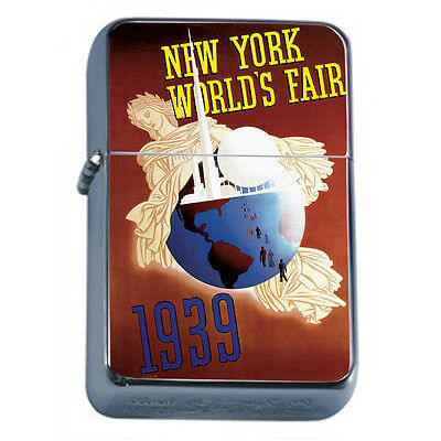 Vintage Worlds Fair New York D2 Windproof Dual Flame Torch Lighter Refillable