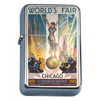 Vintage Worlds Fair Chicago D3 Windproof Dual Flame Torch Lighter Refillable