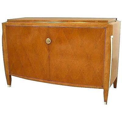 French Art Deco Burled Amboyna Wood Two Door Commode