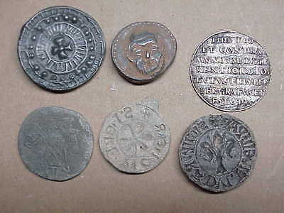 #709 Lot 6 Ancient Byzantine 1000 A.d. Coins Lead Seals Knights Templar Cross Sc