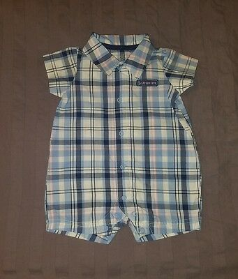 VGUC Carters Baby Boy Clothes 3 Months One Piece Short Sleeve Plaid Romper
