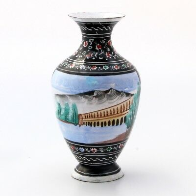 Antique Islamic Vase Middle East Hand painted enamel on copper Birds & Nature.