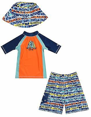 UV Skinz 3 Piece Swimwear Set Boys Outfit Shorts Shirt  Hat UPF 50 Protection 7