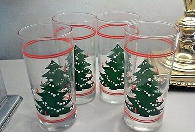 4 NIB Waechtersbach Christmas Tree 15 oz Coolers Tumblers Glasses w/ 4 Red Bands