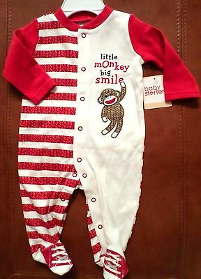 Baby Starters Baby Sock Monkey Sleeper Ivory/Red/Brown Cotton Unisex Size 6 Mo