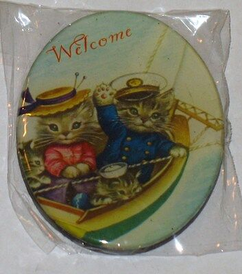Adorable Welcome Kitties In Boat  Magnet Nip