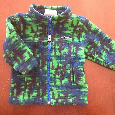 Baby Boy Columbia Fleece Jacket 3-6 Month Green Blue Design EUC Adorable