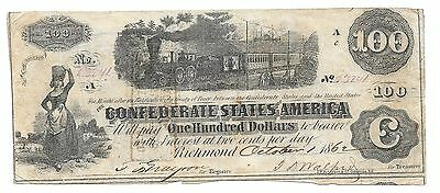 $100.00 (T-40) Confederate Paper Money Issued October 1, 1862