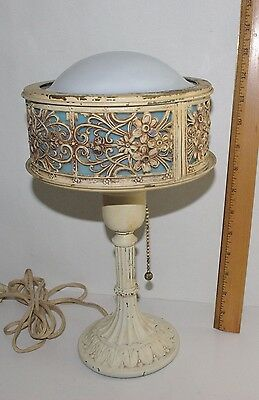 "Antique Slag Glass Filigree Dome Shade 13"" Tall  Lamp 1920's Works"