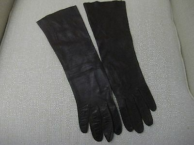 Long Very Soft Brown Leather Gloves  size 6 1/2