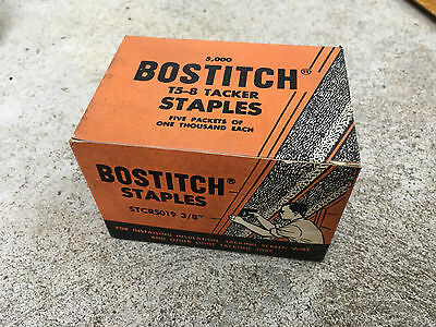 """One Vintage Box Bostitch T5-8 Tacker Staples STCR5019 3/8"""" Qty 5,000 Count Box"""