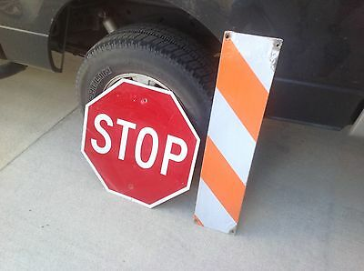"""Construction Road Sign 24"""" STOP SIGN 36"""" X 8"""" Reflector Sign Man Cave Yard Deco"""
