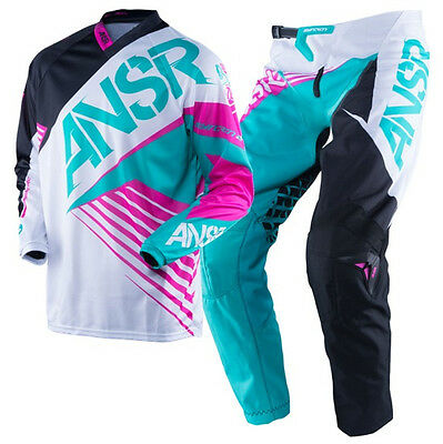 NEW ANSWER MX 2016 White Teal Kids Girls Youth Motocross Jersey & Pants Outfit