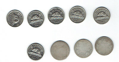 9 Canadian Silver Coins  2 Coins Are  1899 And 1872