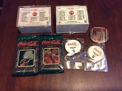 COCA COLA 1993 1994 Series 1 and 2 100 Card Complete Sets Coke Caps Button Packs