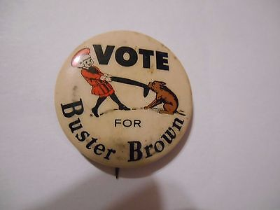 """Early 1900's """"Vote for Buster Brown"""" Pin Back Button, Very Good Condition"""
