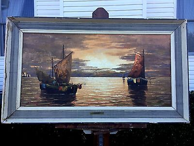 1960s Listed Artist signed E Gillas Oil on Canvas Painting seascape boats Harbor