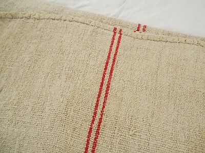 20X50 Vtg Antique NUBBY RED STRIPE European HEMP LINEN FEED SACK GRAIN BAG