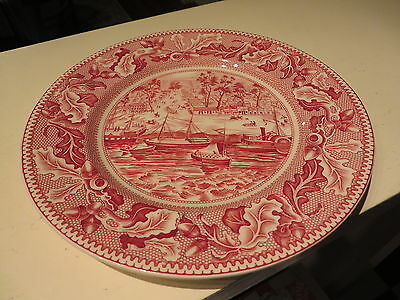 "Johnson Bros Sacramento City California Salad Plate Historic America 8"" Red NR A"