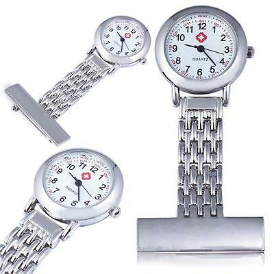 High Quality Nurses Stainless Steel Fob Watch Silver Pocket Watch Pin to ShirtS#