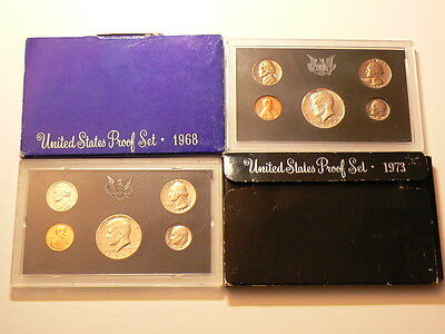 US Mint Proof Sets, Lot Of 4, 1968, 1970, 1972 & 1973 #G3902