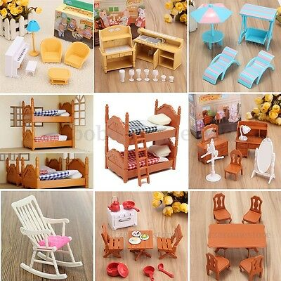 Dolls House Kitchen Room Bedroom Miniature Furniture Set Child Kids Gift Toys