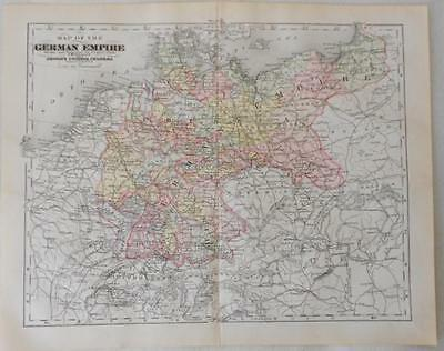 Antique Map of Germain Empire Copper Engraving Hand Colored shows Railroads 1895