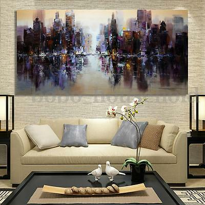 Abstract Modern City Canvas Painting Unframed Print Picture Wall Art Home Decor