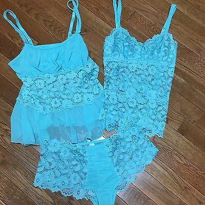 Women's 3-piece Cabernet Lingerie Set, Size Small, Aqua Blue, Lace