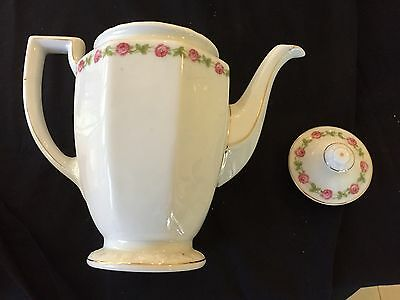 Rosenthal 'maria' Coffee Pot - Pink Roses With Gold Trim On White Ex Con