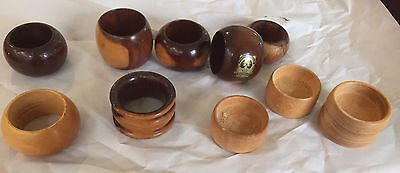 Wooden Napkin Holders/rings X 7 And 3 Small Huon Pine Salt Pots.