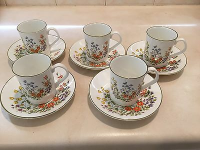 Bone China Tea/coffee Set Elizabethan English 5 Sets In Vg To Ex Cond. 'woodland