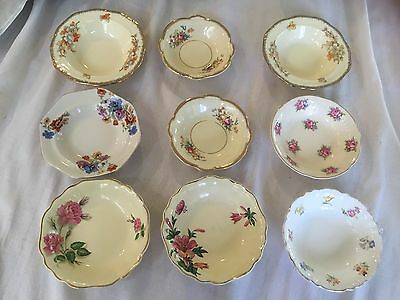 Small Dishes X 9 English China - Different Makers And Sizes All In Ex Cond.