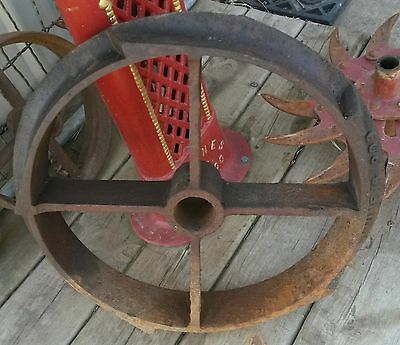 "1909 Antique Cast Iron Wheel  Farm Rotary 17.5""  Steampunk Industrial 32 Pounds"