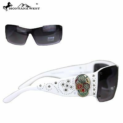 Montana West Sugar Skull Collection Sunglasses White/Multicolor