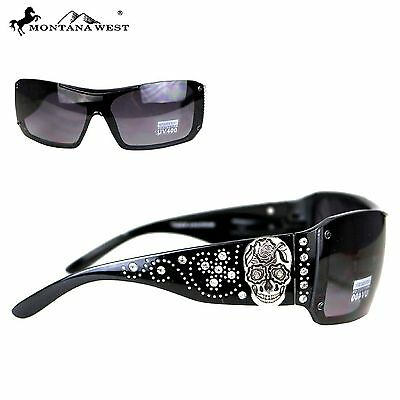 Montana West Sugar Skull Collection Sunglasses Black/Silver