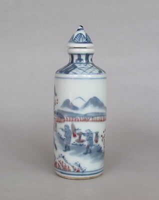 Antique Chinese Underglaze red Blue White Porcelain Snuff Bottle with figure