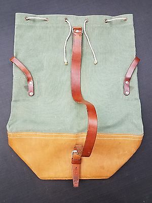 Vintage Swiss Army Duffle Bag Made of Leather and Canvas-Made in Switzerland '67