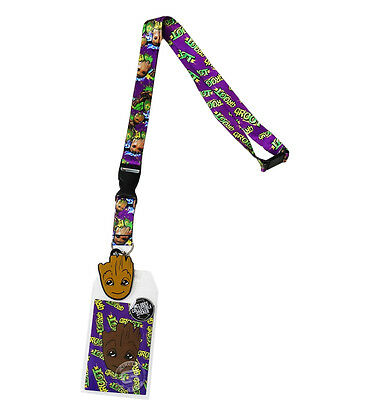 Marvel Guardians of the Galaxy Groot Lanyard Sticker ID Badge Holder & Charm New
