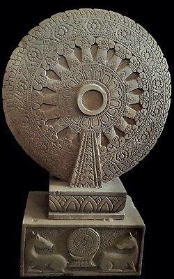 Sculpture Sandstone Wheel Of Dharma 'thammachak' Thai Temple Artifact 15/16Th C