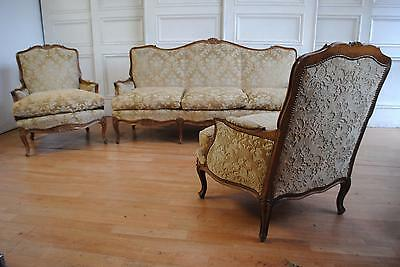 Elegant Vintage French Louis XV Walnut Suite Settee & Bergeres Feather Cushions